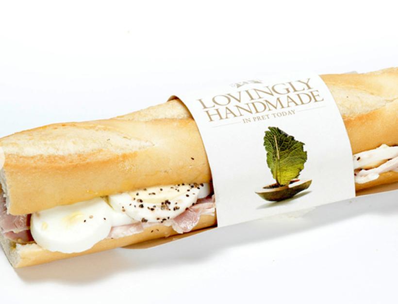 Pret a Manger Ham & Egg on Plain Baguette