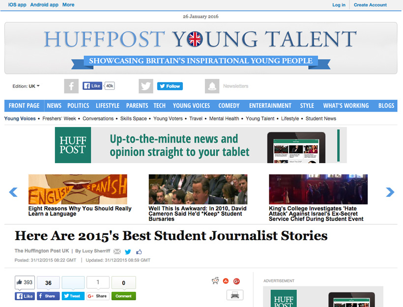 HuffPost Young Talent, UK