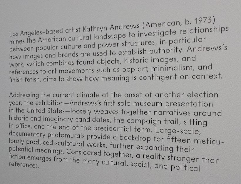 Kathryn Andrews, Run for President Exhibition, MCA, Chicago