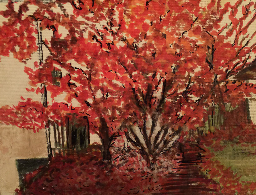 I Feel Fall in the Air – Poem and Painting by Linda (Peaches) Tavani