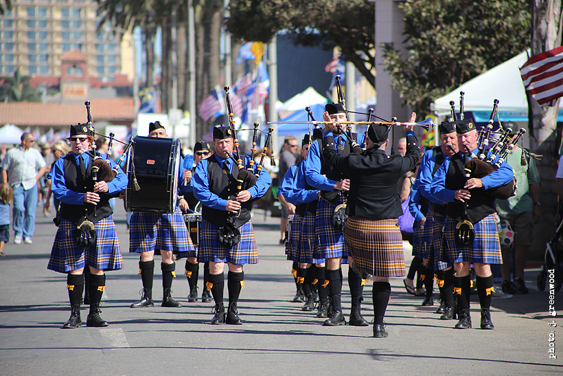 More marching bands with drums and bagpipes.
