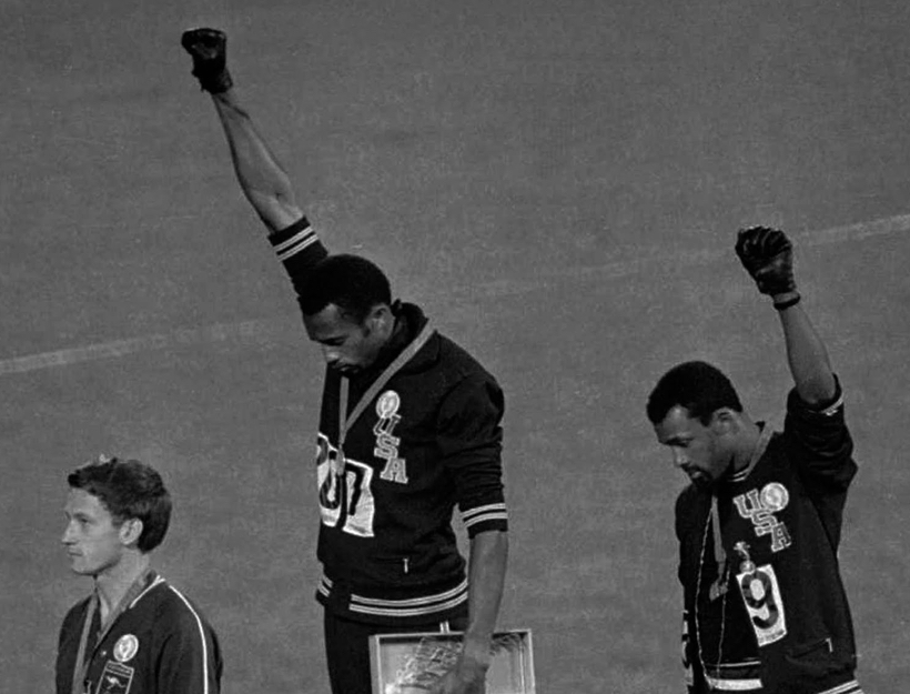 Tommie Smith and John Carlos during their Olympic Medal Ceremony, Oct. 16, 1968.
