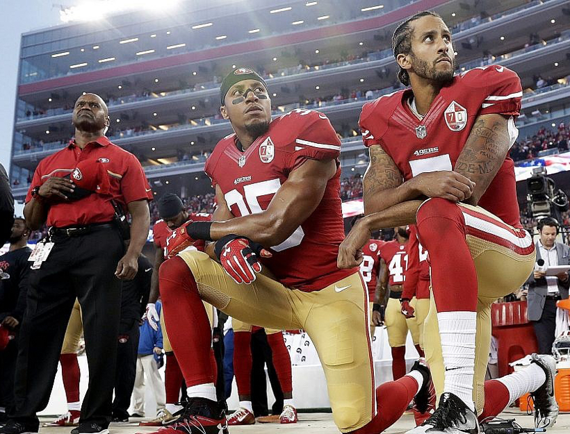 Sept., 2016 Colin Kaepernick takes a knee.