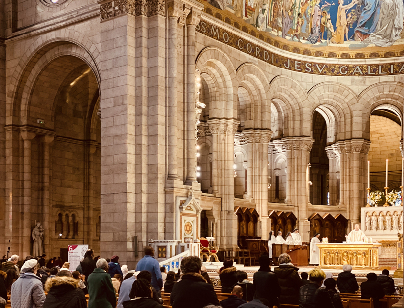 Inside Sacre Coeur During a Service