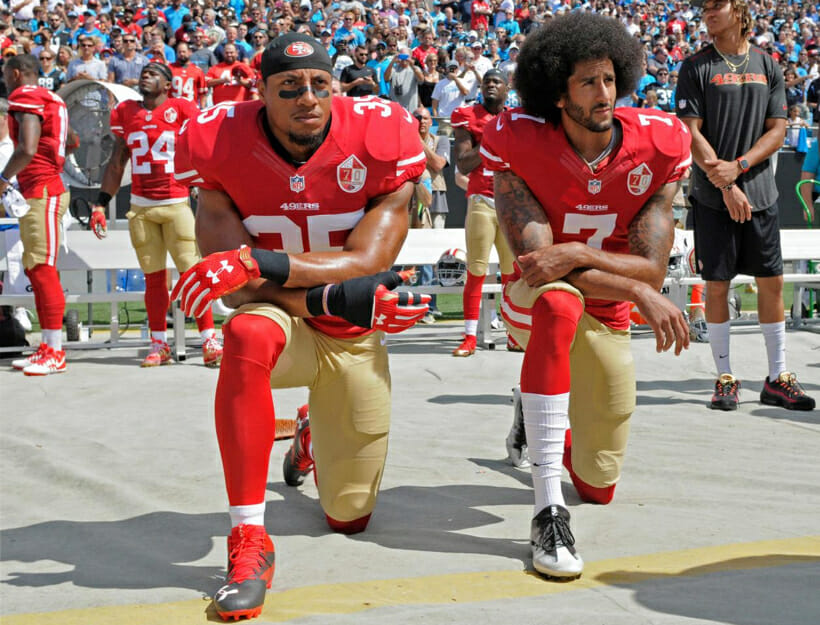 Sept. 2016, San Francisco 49ers' Colin Kaepernick and Eric Reid kneel during the national anthem before an NFL football game to protest police brutality against black men in the U.S.