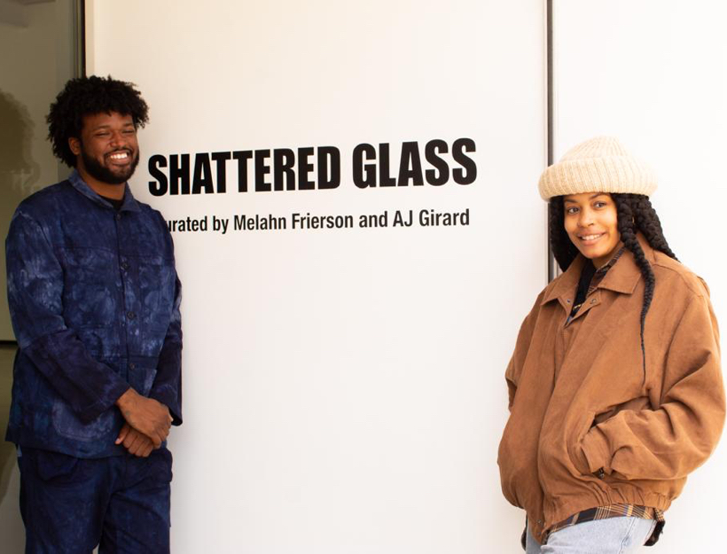 """AJ Girard, one of the curators of """"Shattered Glass"""", along with Nyara.W at the Deitch in Los Angeles in May, 2021."""