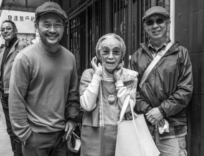 Filmmaker James Q. Chan next to his friend, the celebrated Dorothy Quock (aka Polka Dot), and local artist Leon Sun: Photo Credit - Lenore Chinn